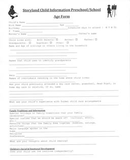 Child Information Form Ages 3 and Up