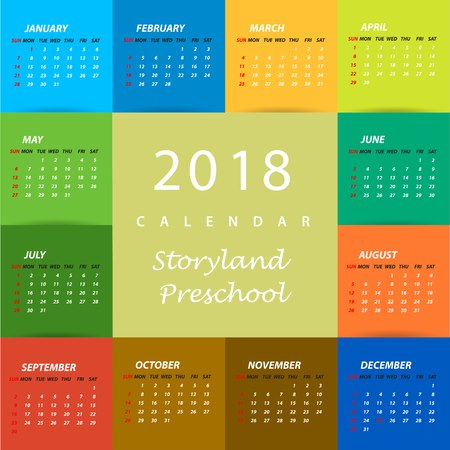 Storyland's Monthly Calendar